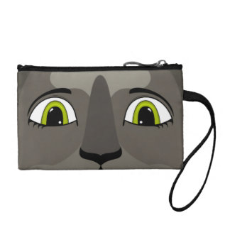 Anime Cat Face With Yellow Eyes Coin Purse