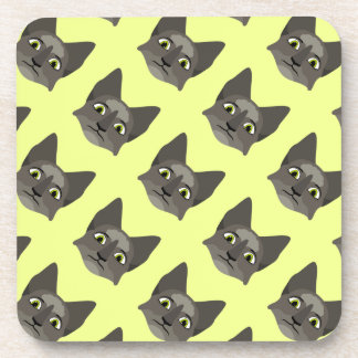 Anime Cat Face With Yellow Eyes Coaster