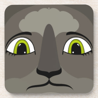 Anime Cat Face With Yellow Eyes Beverage Coaster