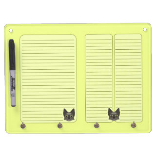 Anime Cat Face With Yellow Eyes Dry Erase Board With Keychain Holder