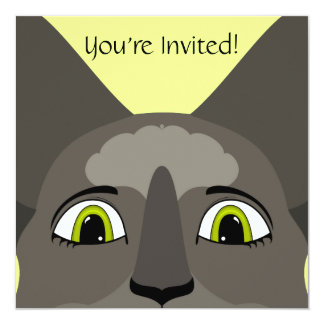 """Anime Cat Face With Yellow Eyes 5.25"""" Square Invitation Card"""