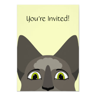 """Anime Cat Face With Yellow Eyes 5"""" X 7"""" Invitation Card"""