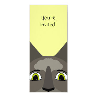 """Anime Cat Face With Yellow Eyes 4"""" X 9.25"""" Invitation Card"""
