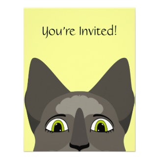 Anime Cat Face With Yellow Eyes Personalized Invitation