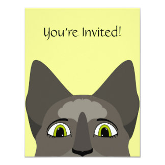 """Anime Cat Face With Yellow Eyes 4.25"""" X 5.5"""" Invitation Card"""