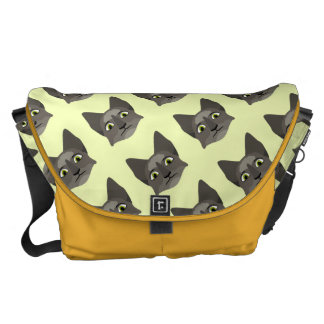 Anime Cat Face With Yellow Eyes Messenger Bag