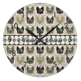 Anime Cat Faces Pattern Clocks