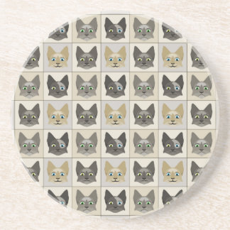 Anime Cat Faces Pattern Drink Coasters