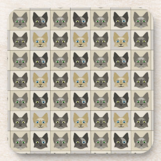 Anime Cat Faces Pattern Beverage Coaster