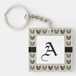 Anime Cat Faces Pattern Key Chain
