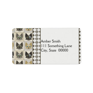 Anime Cat Faces Pattern Personalized Address Labels