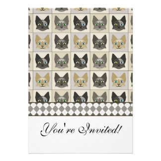 Anime Cat Faces Pattern Personalized Invitation