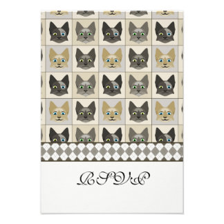 Anime Cat Faces Pattern Personalized Invite