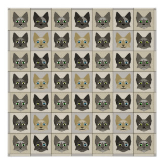 Anime Cat Faces Pattern Poster
