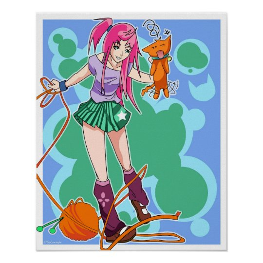 Anime Cat Girl & Cat With Yarn Ball Poster