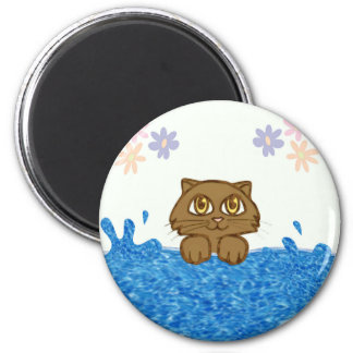 Anime Cat in Water Magnet