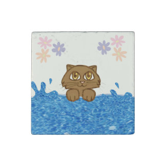 Anime Cat in Water Stone Magnet