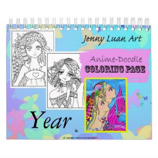 Anime Doodle Zodiac Coloring Calendar