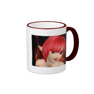 Anime Elf Girl Ringer Coffee Mug