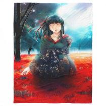 Anime Geisha Girl Airbrush Art Fleece Blanket