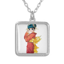Anime Geisha Silver Plated Necklace
