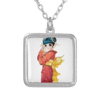 Anime Geisha Silver Plated Necklace