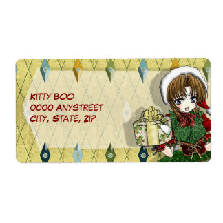 Anime Gift Girl Large Personalized Shipping Labels