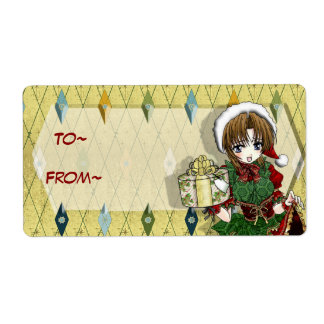 Anime Gift Girl Tag Shipping Labels