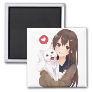 Anime Girl And Her Cat Magnet