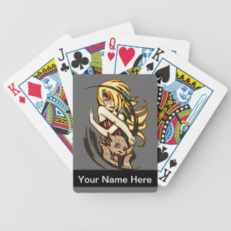 Anime Girl and Panther Playing Cards