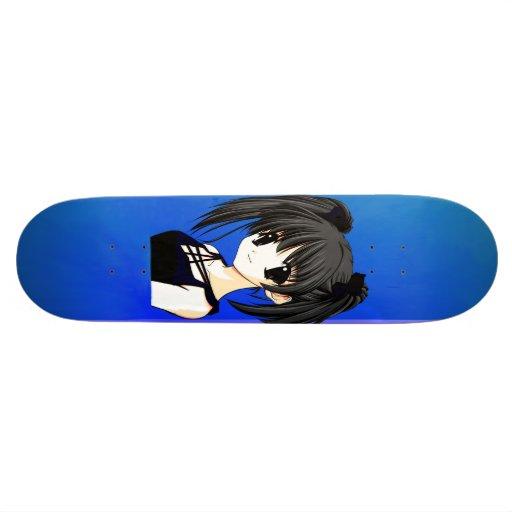 Anime Girl Blue Skateboard