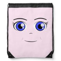 Anime Girl Face Drawstring Bag