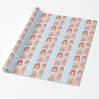 Anime Girl Fashion Illustration Wrapping Paper