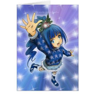 Anime Girl Holiday Greeting Card
