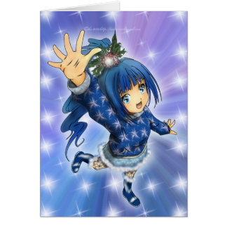 Anime Girl Holiday Greeting Greeting Cards