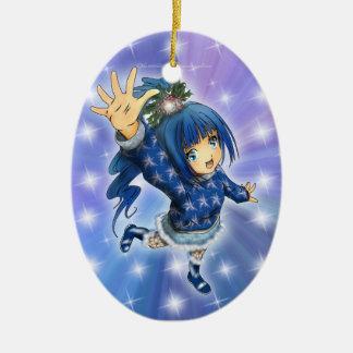 Anime Girl Holiday Hi! Double-Sided Oval Ceramic Christmas Ornament