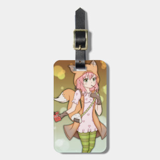 Anime Girl in Fox Cosplay Bag Tag