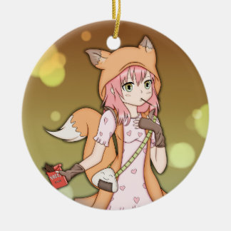 Anime Girl in Fox Cosplay Ceramic Ornament