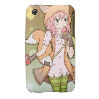 Anime Girl in Fox Cosplay iPhone 3 Cover