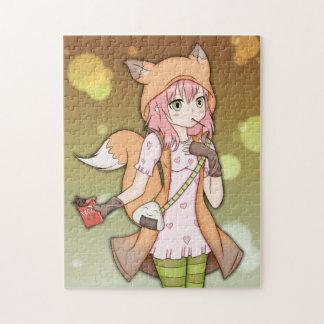 Anime Girl in Fox Cosplay Jigsaw Puzzles