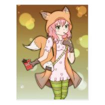 Anime Girl in Fox Cosplay Postcard