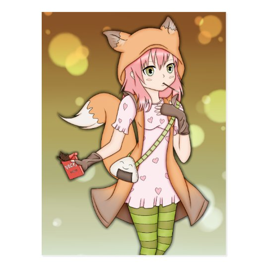 Anime Girl in Fox Cosplay Postcard