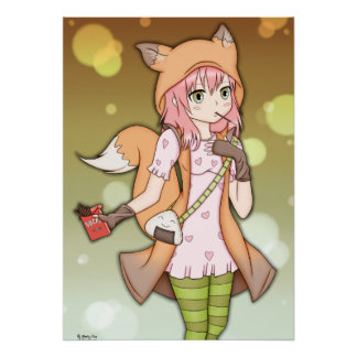 Anime Girl in Fox Cosplay Poster