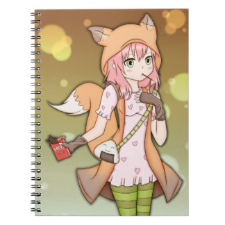 Anime Girl in Fox Cosplay Spiral Notebook