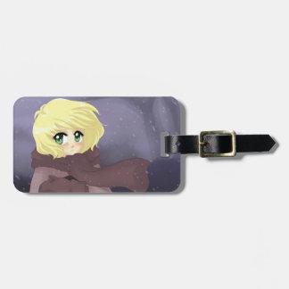 Anime girl on a windy day bag tags