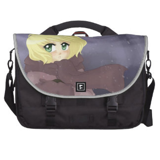Anime girl on a windy day bags for laptop