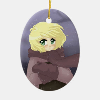 Anime girl on a windy day ceramic ornament