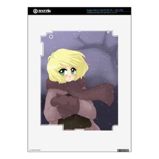 Anime girl on a windy day iPad 3 skin