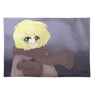 Anime girl on a windy day place mat