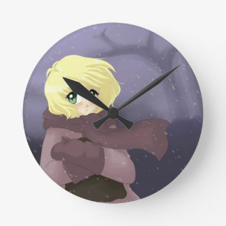 Anime girl on a windy day round wallclock